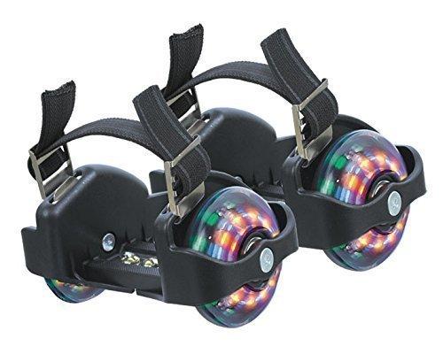 Preisvergleich Produktbild Funrollers Rollen für die Schuhe - größenverstellbar bis 80 kg Tragkraft Schwarz mit Leuchten / Licht