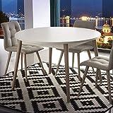 M-029 skandinavischer Tisch, ausziehbar, Weiß und helles Holz, Cirilo