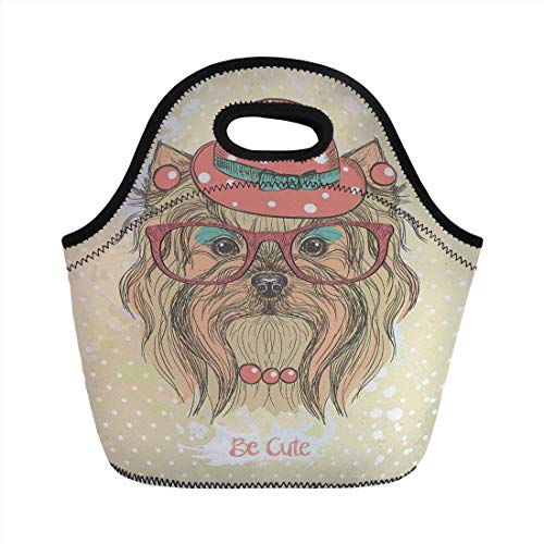 Portable Bento Lunch Bag,Yorkie,Be Cute Portrait of an Adorable Dog with Earrings Necklace Glasses Hat Makeup,Light Brown Coral,for Kids Adult Thermal Insulated Tote Bags - Gucci Coral