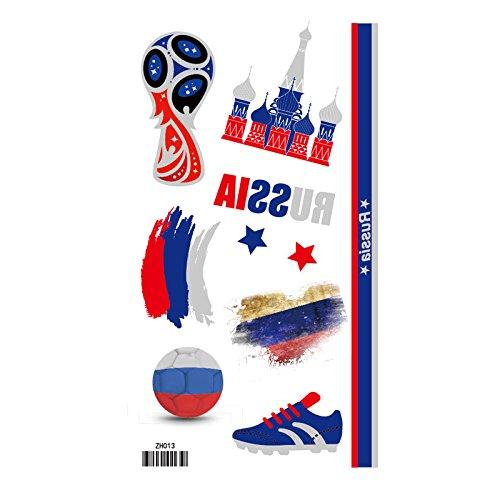 Meflyw 2018 Wm Flaggen Aufkleber face-facial Tattoos wasserdicht und robust Fans Fußball bar Thema, das Neue Russische ZH013 (Spiel Themen Halloween Kostüme)