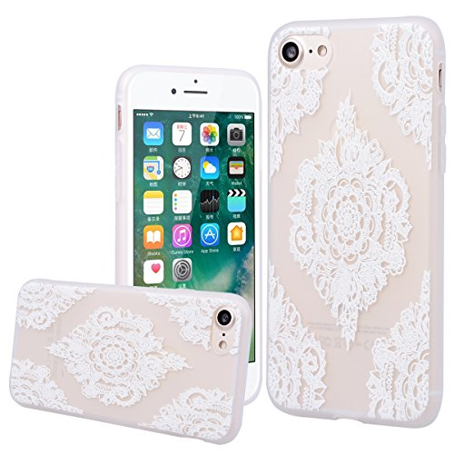 """WE LOVE CASE iPhone 7 / 8 Hülle 3D Scheuern Entlastung Elefanten Blumen iPhone 7 / 8 4,7"""" Hülle Silikon Weich Weiß Handyhülle Tasche für Mädchen Elegant Backcover , Soft TPU Flexibel Case Handycover S Mandala"""