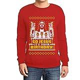 Shirtgeil Maglione Brutto di Natale per Lui - Go Jesus It's Your Birthday Felpa da Uomo XX-Large Rosso