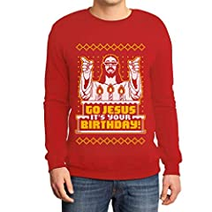 Idea Regalo - Shirtgeil Maglione Brutto di Natale per Lui - Go Jesus It's Your Birthday Felpa da Uomo Medium Rosso