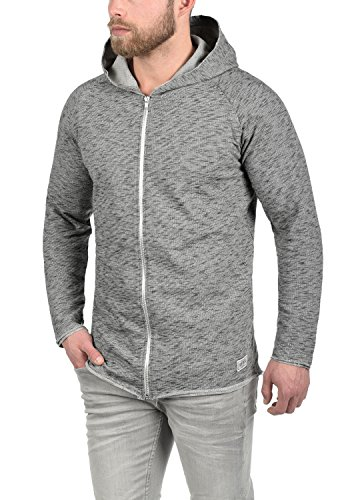REDEFINED REBEL Malik Herren Sweatjacke Kapuzen-Jacke Zip-Hoodie aus hochwertiger Baumwollmischung Meliert Antracit Grey