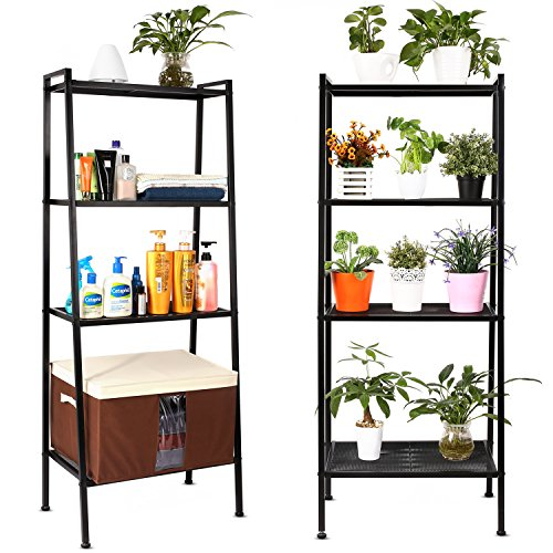 HOMFA Bücherregal Metall Standregal Leiterregal Treppenregal Lagerregal Badregal StufenregalPflanzenregal mit 4 Böden 60x35x147cm perfekt für Bücher, Pflanzen, Deko...