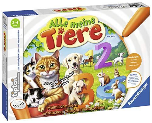Ravensburger tiptoi Alle meine Tiere Spiel, ab 3 Jahren, Lerne spielerisch die Zahlen von 1 bis 10 mithilfe heimischer Tiere