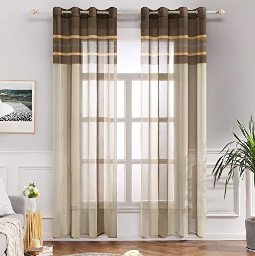 Miulee lino voile tenda finestra con occhielli tenda a pannello tende a vela trasparente per soggiorno e camera da letto 2 pezzo set bianco+marrone chiaro 140x260cm