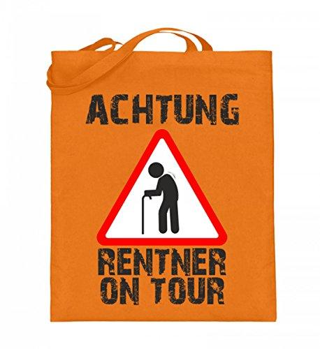 Hochwertiger Jutebeutel (mit langen Henkeln) - Achtung Rentner on Tour Mittelorange