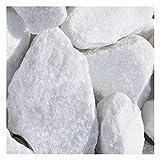 Marmor weiß Bruchsteine Gabionensteine, in der Körnung 40-60mm, einzigartige Marmorsteine in weiß mit gebrochenen Kanten, Ideall für Gabionen und Steinzäune, aber auch zur Dekoration in Ziergärten, Zierkies für den Garten, 20 kg Sack (Mindestbestellmenge 15 Stück), Kieselsteine, Marmorkies