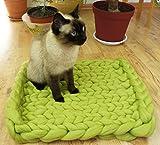 Pet Bett, Matte, Wolldecke. Farbe Grün. Natürliche und ökologische Wolle. Handmade . Gestrickt. Kostenloser Versand. Cozy kreatives Geschenk. - 2