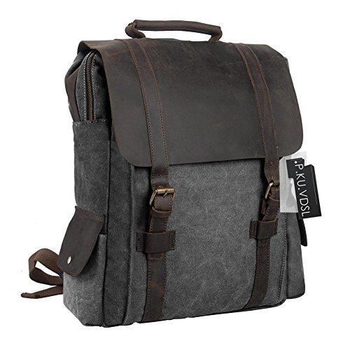 Imagen de  vintage de lona zainotelavintage p.ku.vdsl®  tipo casual y cuero bolso casual para viajes bolsa de escuela unisex adecuada para 15' cuaderno c gris oscuro