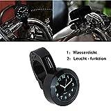 Universal Motorraduhr Motorrad Lenker Uhr Leichte wasserdicht schwarz weiss Aluminium 7