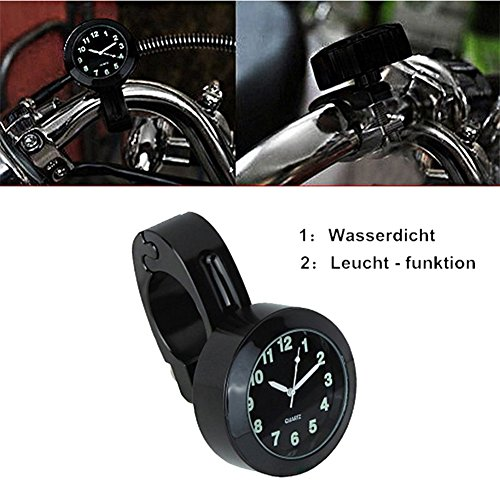 """Universal Motorraduhr Motorrad Lenker Uhr Leichte wasserdicht schwarz weiss Aluminium 7/8 \"""" (22 /25mm) Ziffernblatt Fahrrad Roller schwarz siber (Schwarz)"""