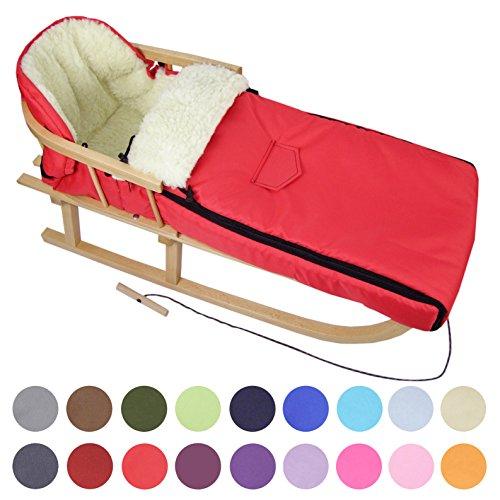 BAMBINIWELT Kombi-Angebot Holz-Schlitten mit Rückenlehne & Zugseil + universaler Winterfußsack (108cm), auch geeignet für Babyschale, Kinderwagen, Buggy, aus Wolle Uni (rot)