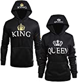 Socluer Pärchen Paar King und Queen Sweatshirt Pullover mit Kapuze Damen Herren Hoodie mit Tasche