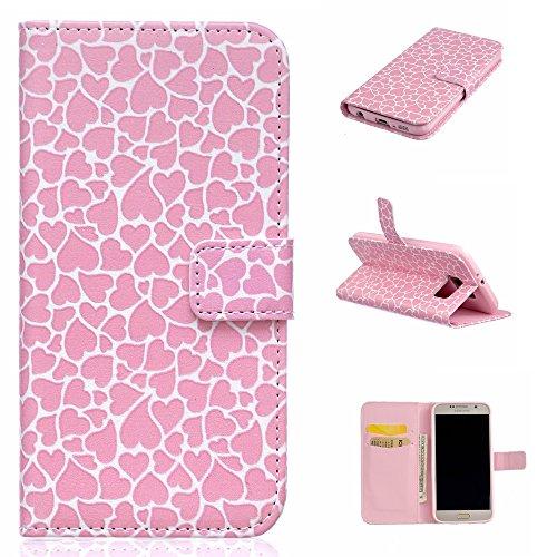 Aeeque iPhone 5/5S/5C/SE/6 plus/6S,, Samsung Galaxy S3/S4/S5/S6/S6/S6 Edge Edge J5/plus/nota 5/S7/S7/Edge G360/G530/i9060, Sony Xperia M4/Z5 mini/Z5, P8 Huawei Lite pittura, disegno elegante Custodia Love Heart Pink