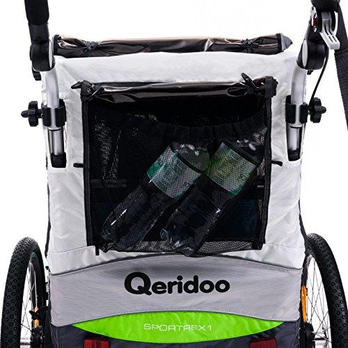 Qeridoo Sportrex 1 Deluxe (inkl. Sitzpolster) Kinder-Fahrradanhänger für 1 Kind (mit einstellbarer Federung) – grün - 5