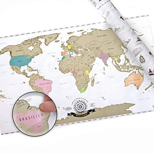 Scrape Off World Map XXL - Weltkarte zum Rubbeln - Rubbel Landkarte Deluxe Poster (Der Welt Gold Münzen)