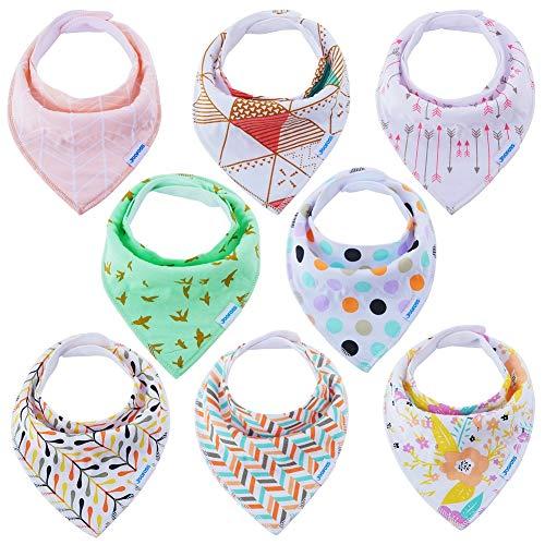 Baby Dreieckstücher 8er Halstücher Saugfähig Weich Spucktuch Baumwolle Set mit Druckknöpfen für Baby Mädchen Kleinkinder von YOOFOSS (Passt Kleid Kleinkind)