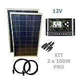 VIASOLAR 200W 12V Solaranlage PRO Solarmodul 2X100W