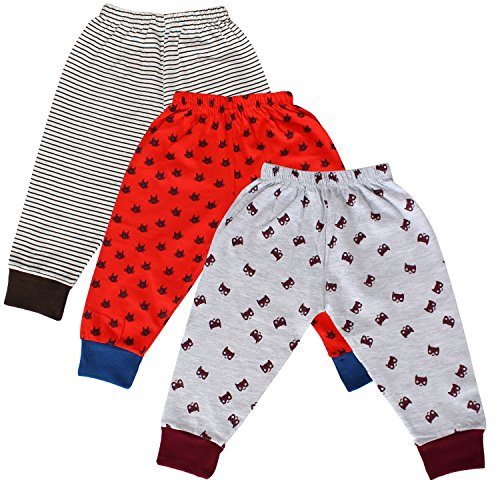Tiddlee Baby Kids Clothes - for Girls and Boys - Children Combo set - Pack of 3 Printed Multicolour Pajama Pants / Legging / Pajami / Lower / Trouser / Pyjama with colored Rib - Soft & 100% hosiery cotton - Multi-color - Child Skin friendly, Durable & High Quality Coloured Clothing Apparel - (9-12 months) - upto 1 year  available at amazon for Rs.329