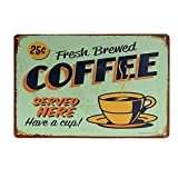 kentop Retro Cartel de chapa Café placa de pared (placa para puerta metal Publicidad Pared Cartel para bar Coffee Shop pared decoración