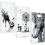 Sony Xperia M2 Funda - Lanveni® 3pcs Chic Elegante Carcasa Rigida PC ultra Slim para Sony Xperia M2 Transparente Protective Case - Patrón Diseño (zapatos de tacón alto + Diente de león + elefante)