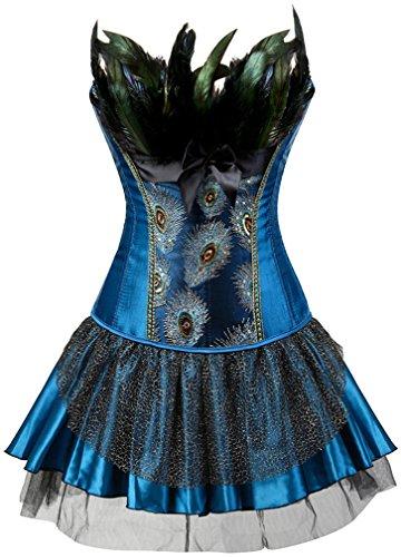 EUDOLAH Damen Vintage Gothic Corsage Burlesque Vollbrust Korsett Korsagenkleid mit Rock Petticoat Halloween Kostüme Pfau Pattern mit Federn Übergrößen Blau-Blauer Rock 2XL (Schwarze Das Für Halloween-kostüm Korsett)