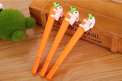 Rood - 6 bolígrafos de gel de tinta negra para niños, papelería, oficina, negocios, oficina, bolígrafo, forma de bolígrafo, conejo, escalada, zanahoria