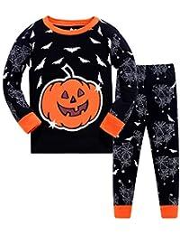 DAWILS Pijama para Niño-Pijamas de Calabaza de Halloween para Niños-Todos los Santos