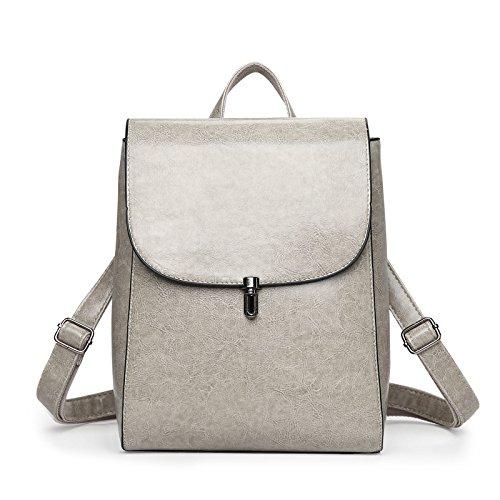 Mefly Der Neue Pu-Rucksack Tasche Fashion All-Match Travel Rucksack gray
