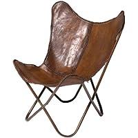 Preisvergleich für Kare Sessel Butterfly Braun, moderner Design Echtledersessel im Retrolook, extravaganter Relaxsessel im Vintagestyle, Designstuhl; (H/B/T) 87x80x76cm