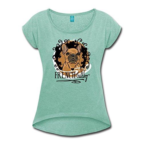 Spreadshirt French Bulldog Zeichnung Frauen T-Shirt mit gerollten Ärmeln, S, Minze meliert (Bulldog T-shirt Grün)