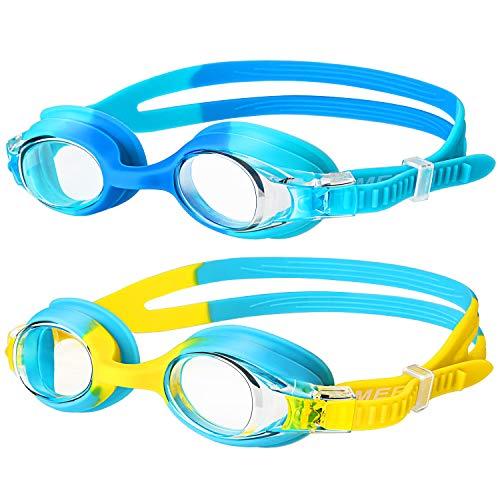 OMERIL Schwimmbrille Kinder[2 Stücke] Swimming Goggles, Antibeschlag Lecksicher Wasserdicht und Weiches Silikon Swim Goggles, Größenverstellbar, Premium Schwimmbrille für Kinder mit Tragbare Tasche