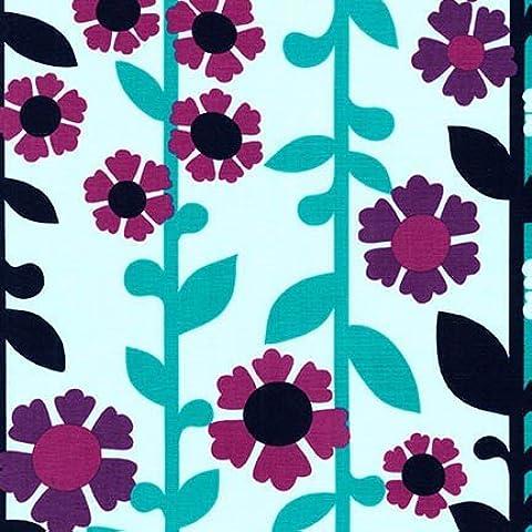 Tela di cotone, motivo floreale, in tessuto, di Robert Kaufman, 0,5 metri, motivo Scandi RKCAN01 fiori viola, colore tessuto: nero-blu Auntie's Attic Collection by Robert Kaufman, 50 x 100 cm