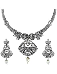Shining Jewel Oxidized Silver Afghani Necklace Set For Women (SJ_2395)