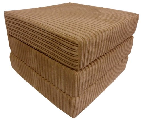 sit n sleep folding seat guest bed futon pouffee fold out chair in light brown jumbo cord