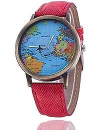 LILICAT Hombres mujeres reloj mapa mundial de diseño análogo cuarzo vida impermeable ...