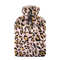 SlumberzzZ Leopard Print Faux Fur Cover Pom Pom Trim 2 Litre Hot Water Bottle (Pink)