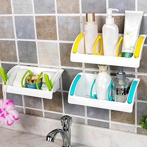 IGEMY Home Bathroom Plastic Shower Storage Rack Shampoo Holder Shelf Wall Suction NEW (Blue)