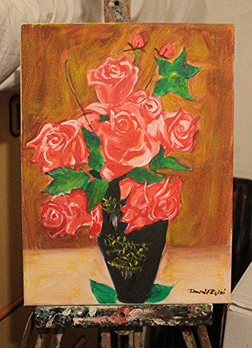 Vase mit Blumen, Rosen- Malerei auf Leinwand Größe cm 30x40x1 cm Acryl-Technik,ein Stück handgefertigt Künstler David Pacini-MADE IN ITALY Lucca Toskana, - Pferd-vase