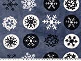 ab 1m: Superflausch, Eiskristalle, blau-weiß, 150cm breit