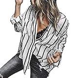 Overdose Blusa para Mujer OtoñO Primavera Nueva Mejor Venta De Moda Casual De Manga Larga Color Block Stripe Button Camisetas Tops (S, Negro)