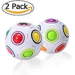 ThinkMax Magic Rainbow Ball, Cubo inteligente de velocidad 3D Puzzle, Juguetes educativos para niños, Bola de alivio de estrés para adulto (2 piezas)