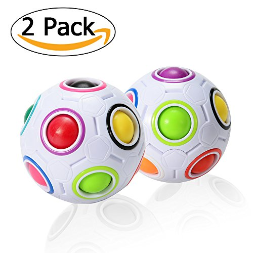 ThinkMax Magic Rainbow Ball Puzzle Cube Fidget Toys Pop Rainbow Ball for Kids (2 Pcs)