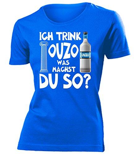 Ich Trink Ouzo was Machst du so 4923 Griechenland Sauf Bier Damen Fun-T-Shirts Blau M
