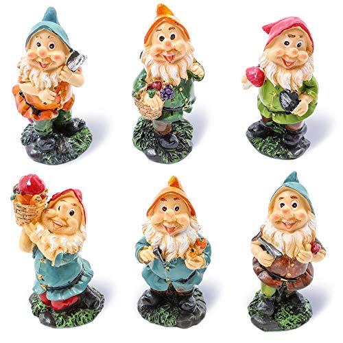 Juvale Set von 6 Mini-Zwergfiguren – Feengarten – Zwergfiguren, 4,8 x 10,2 x 4,6 cm