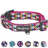 Blueberry Pet 1,5cm S Endloser Blumendruck Designer Neopren Gepolstertes Hundehalsband für Kleine Hunde