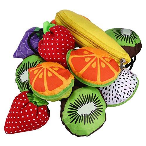 5 Stück Baumwolle Größe Obst-Form Einkauftasche Wiederverwendbare Faltbar Umhängetasche Shopping Bag Süße Tasche GuanweuShop
