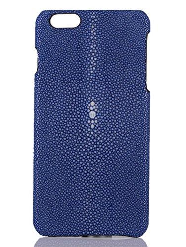 Minifamily® Genuine Polierte Stingray Manta Ray Leder Shell Tasche für iPhone 6 / 6s / 6 Plus 5,5 Zoll / iPhone 7/7 Plus 5,5 Zoll (iPhone 7 Plus 5,5 Zoll, Hellblau) - Genuine Stingray Haut